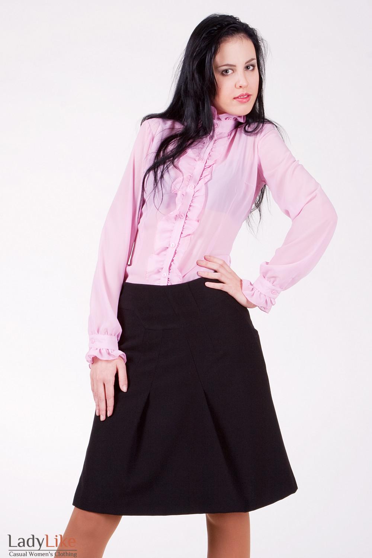 Блуза 231P Из тонкого шифона. С юбкой. Цвет розовый.