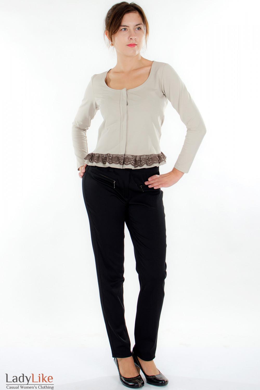 Блузка бежевая с кружевом Деловая женская одежда