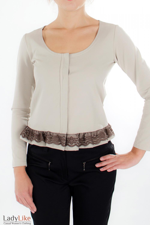 Блузка бежевая с кружевом спереди  Деловая женская одежда