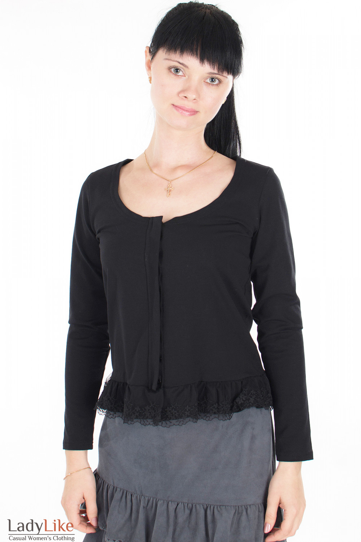 Блузка черная с кружевом Деловая женская одежда