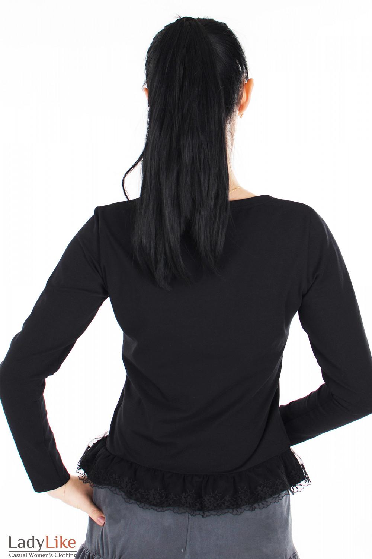 Блузка черная с кружевом вид сзади Деловая женская одежда