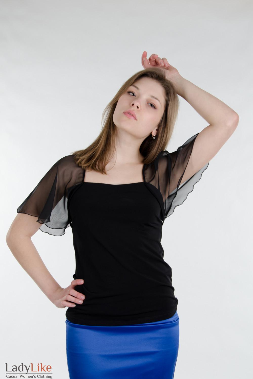 Блузка черная с крыльями. Деловая женская одежда