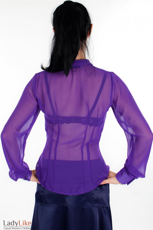 Блузка из фиолетового шифона вид сзади Деловая женская одежда