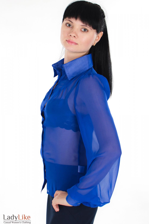Блузка из синего шифона вид сбоку  Деловая женская одежда