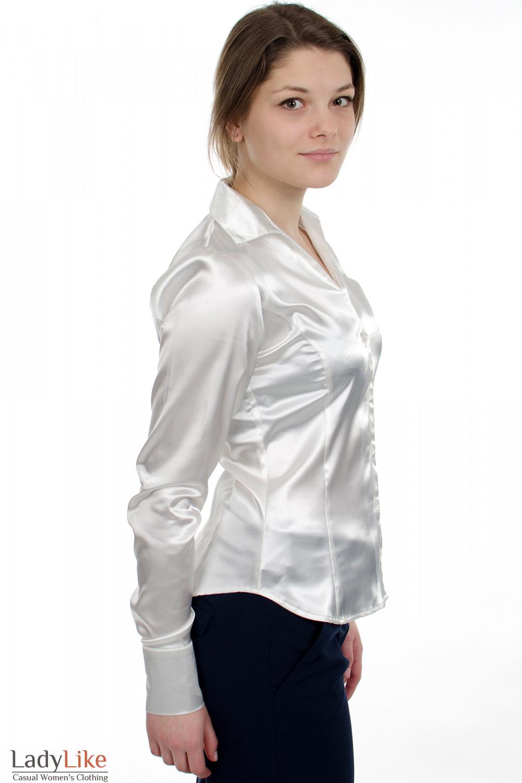 Блузка классическая из белого атласа вид сбоку Деловая женская одежда