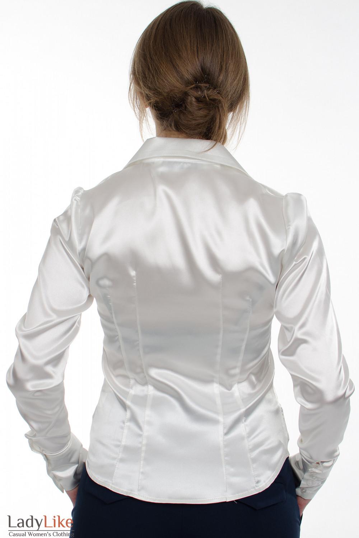 Блузка классическая из белого атласа вид сзади Деловая женская одежда