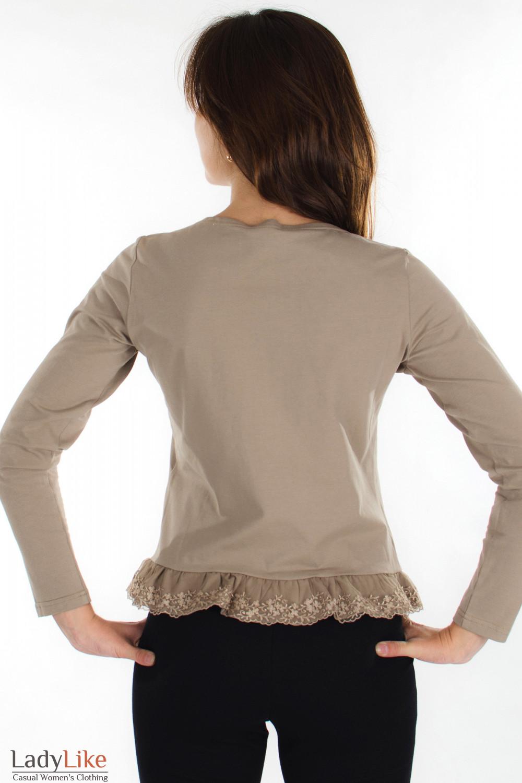 Блузка коричневая с кружевом вид сзади Деловая женская одежда
