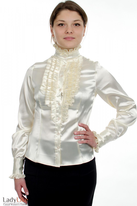 Блузка молочная с рюшами Деловая женская одежда