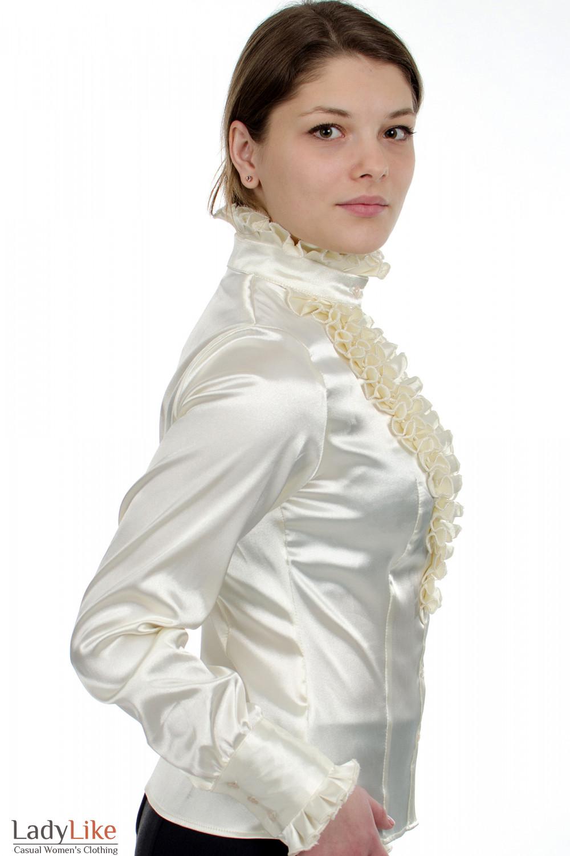 Блузка молочная с рюшами вид сбоку Деловая женская одежда