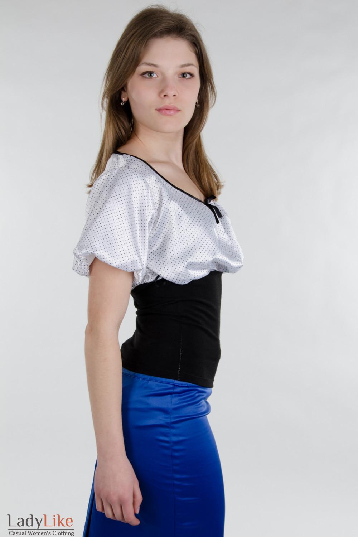 Блузка оригинальная в горошек. Деловая женская одежда