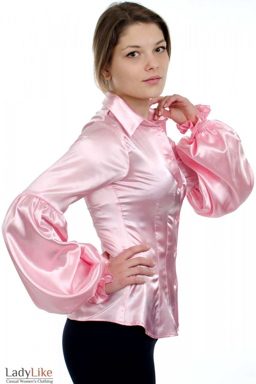 Блузка розовая атласная вид сбоку Деловая женская одежда