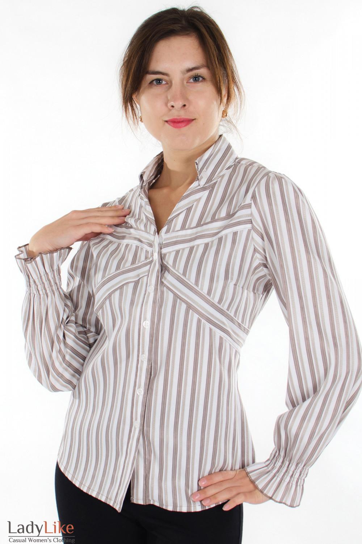 Блузка в бежевую полоску Деловая женская одежда