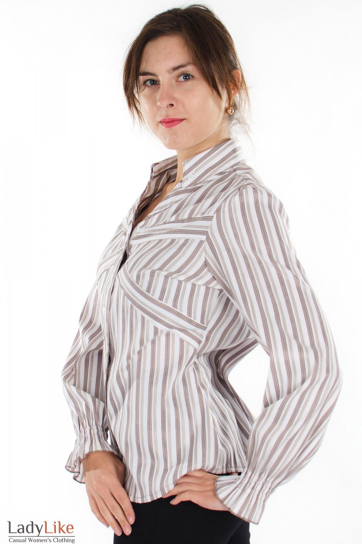 Блузка в бежевую полоску вид сбоку Деловая женская одежда