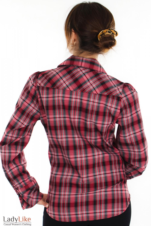 Блузка в красную клетку вид сзади Деловая женская одежда