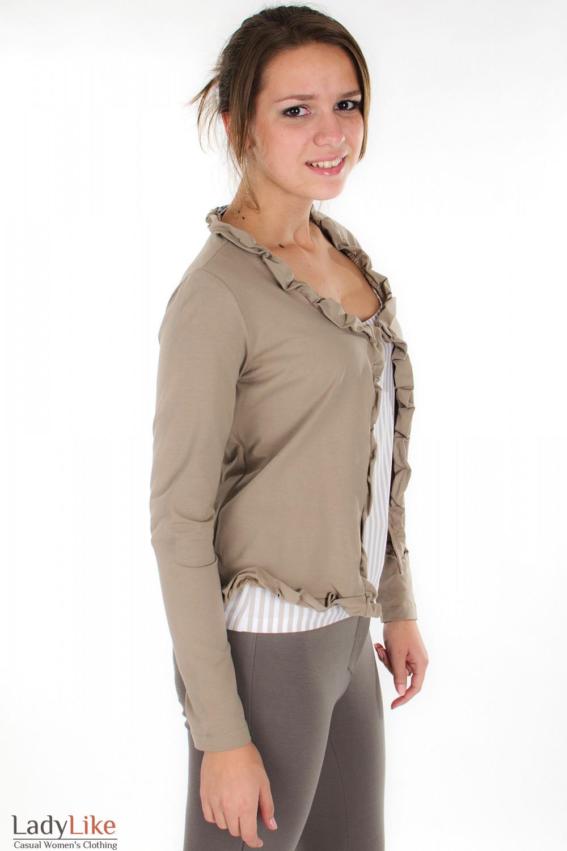Болеро бежевое вид сбоку Деловая женская одежда