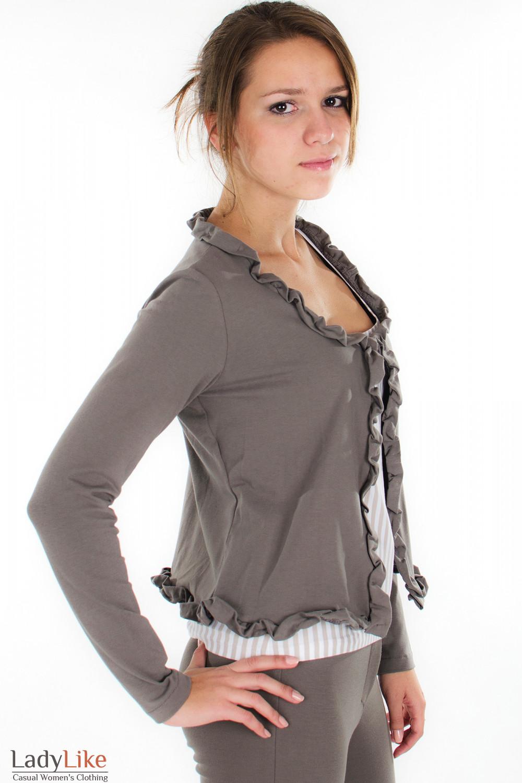 Болеро темно-коричневое вид сбоку Деловая женская одежда