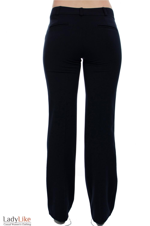 Брюки черные на флисе вид сзади Деловая женская одежда