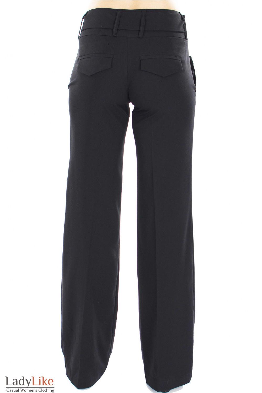 Брюки черные с поясом вид сзади Деловая женская одежда