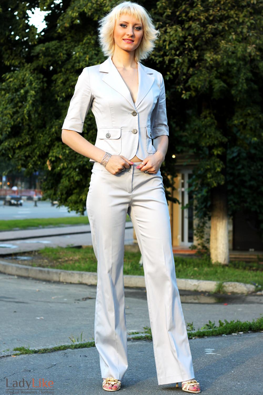 Брюки летние серые Деловая женская одежда