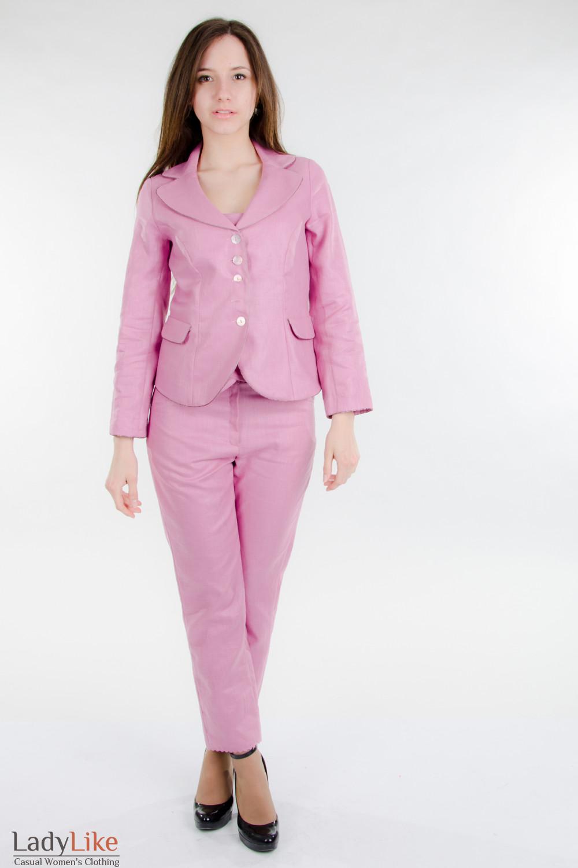 Брюки розовые из льна Деловая женская одежда
