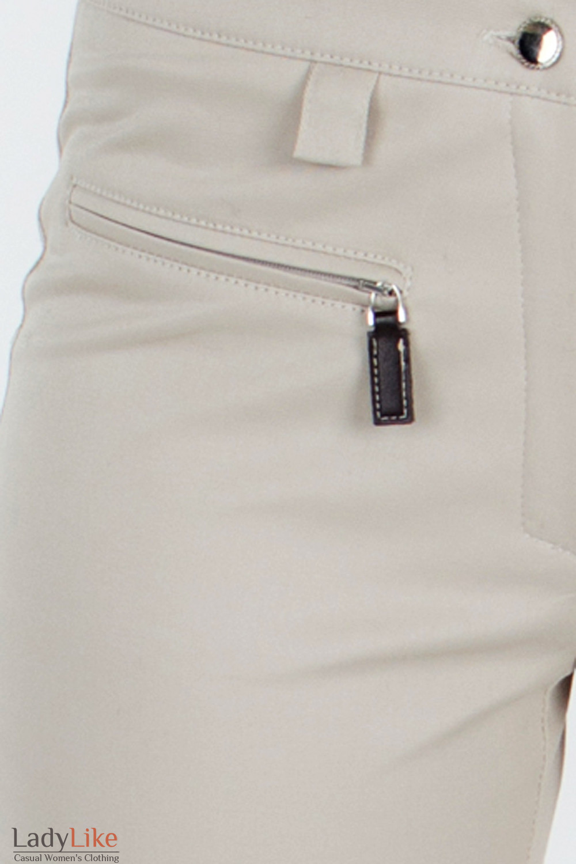 Брюки зауженные бежевые карман Деловая женская одежда