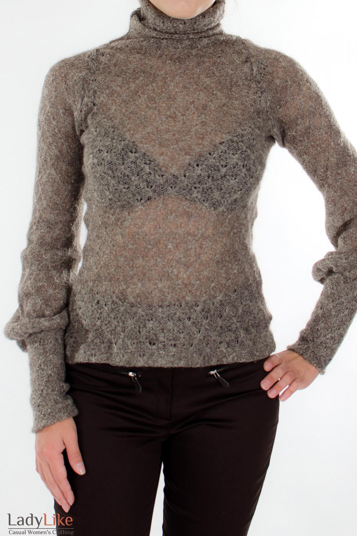 Гольф коричневый вязаный Деловая женская одежда