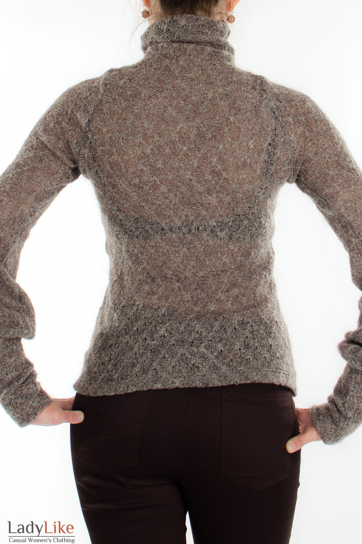 Гольф коричневый вязаный вид сзади Деловая женская одежда