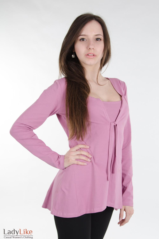 Трикотажный розовый кардиган Деловая женская одежда
