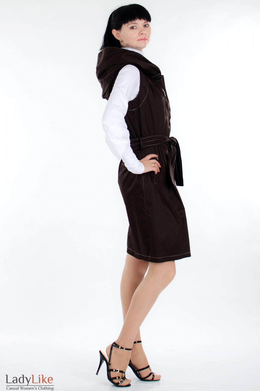 Плащ  коричневый с капюшоном вид сбоку Деловая женская одежда