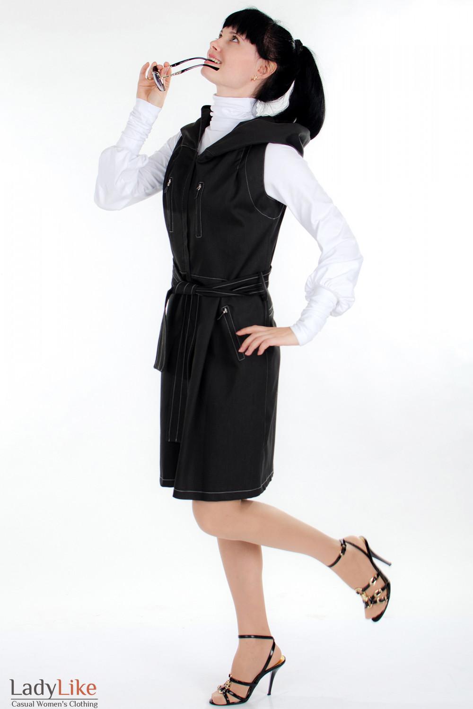 Плащ черный с капюшоном Деловая женская одежда