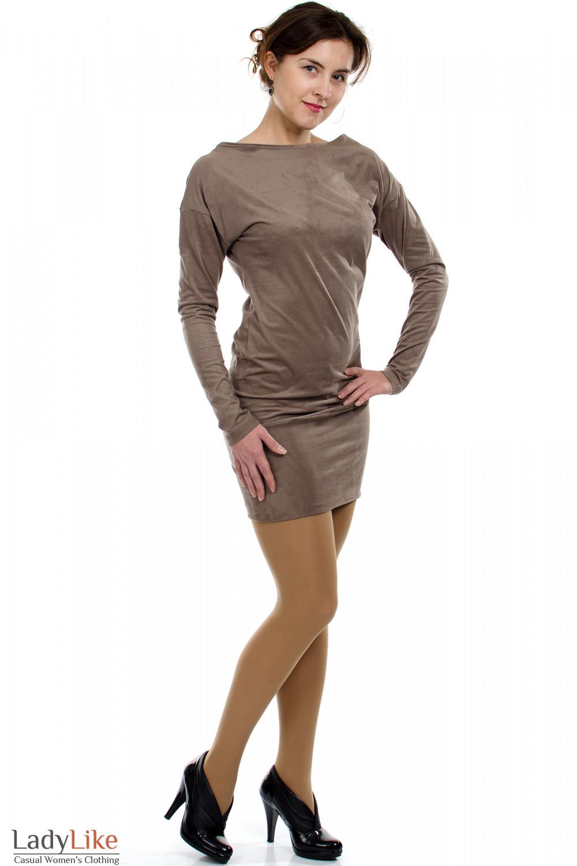 Платье-туника кофейное вид спереди Деловая женская одежда