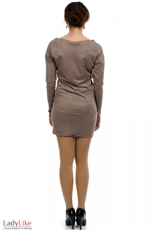Платье-туника кофейное вид сзади Деловая женская одежда