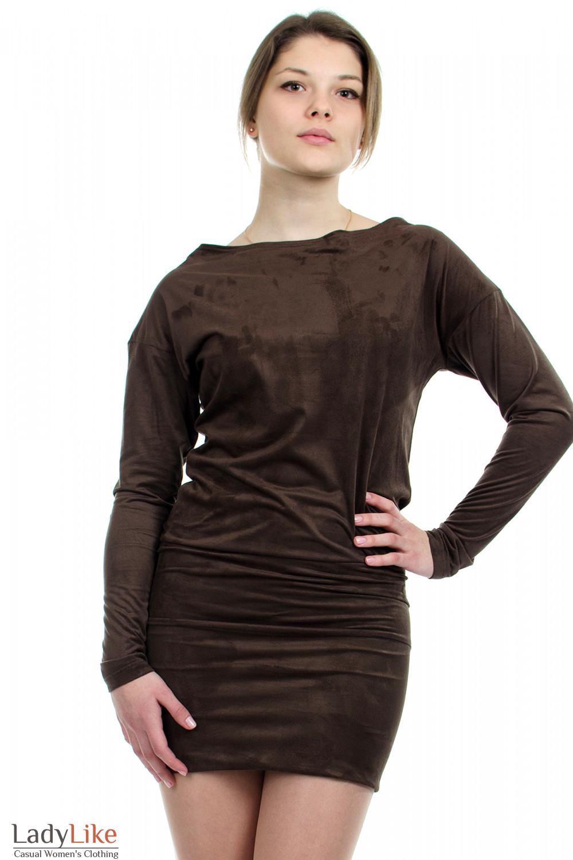 Платье-туника коричневое вид спереди Деловая женская одежда