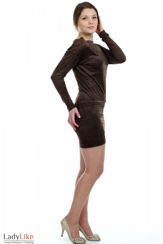 Платье-туника коричневое вид сбоку Деловая женская одежда