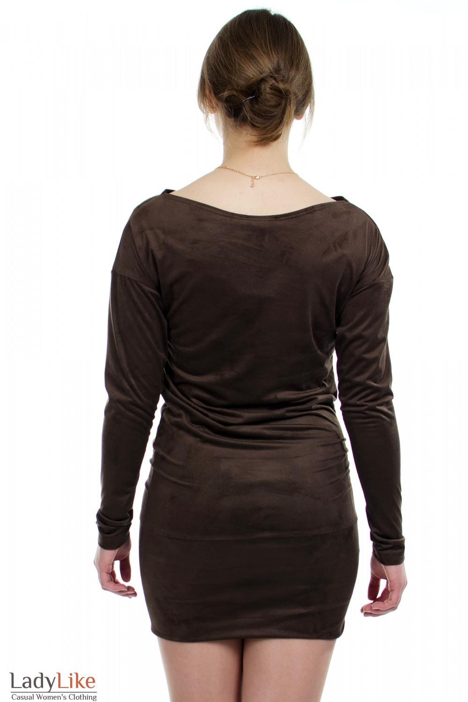 Платье-туника коричневое вид сзади Деловая женская одежда