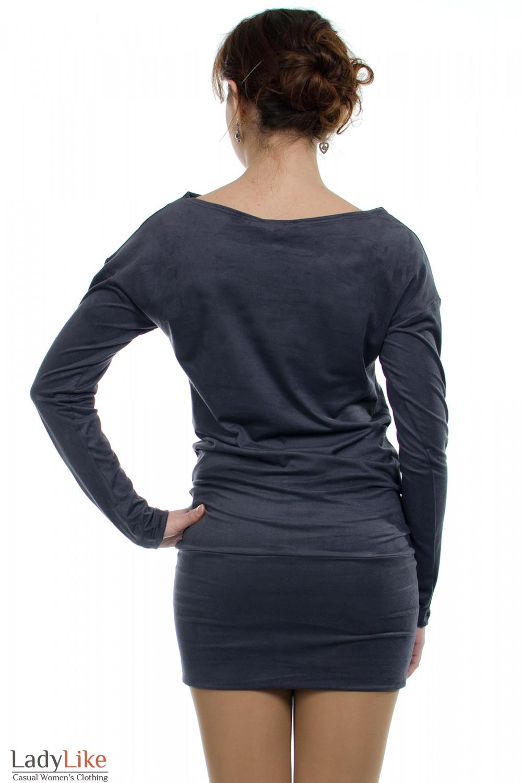 Платье-туника серое вид сзади Деловая женская одежда