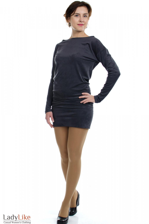 Платье-туника серое вид спереди Деловая женская одежда