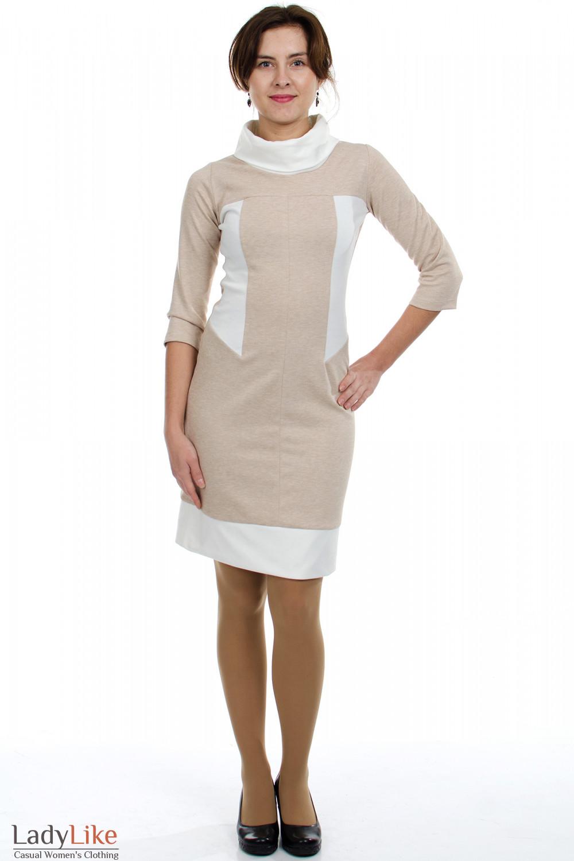 Платье бежевое с белым воротником Деловая женская одежда
