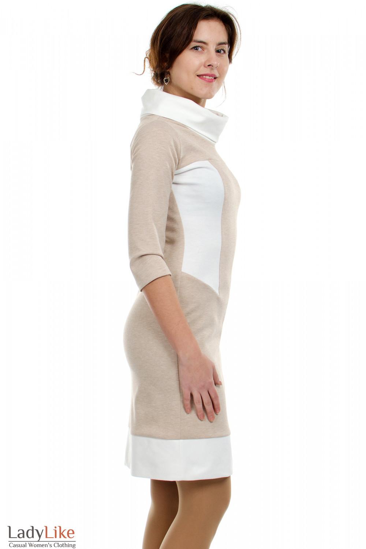 Платье бежевое с белым воротником вид сбоку Деловая женская одежда