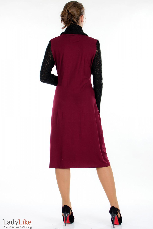 Платье бордо с вязаными рукавами сзади Деловая женская одежда