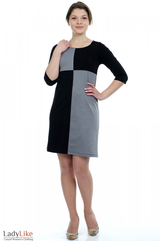 Платье черное Шахматка Деловая женская одежда