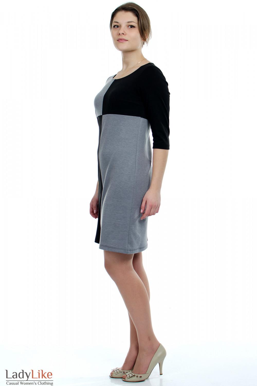Платье черное Шахматка вид слева Деловая женская одежда