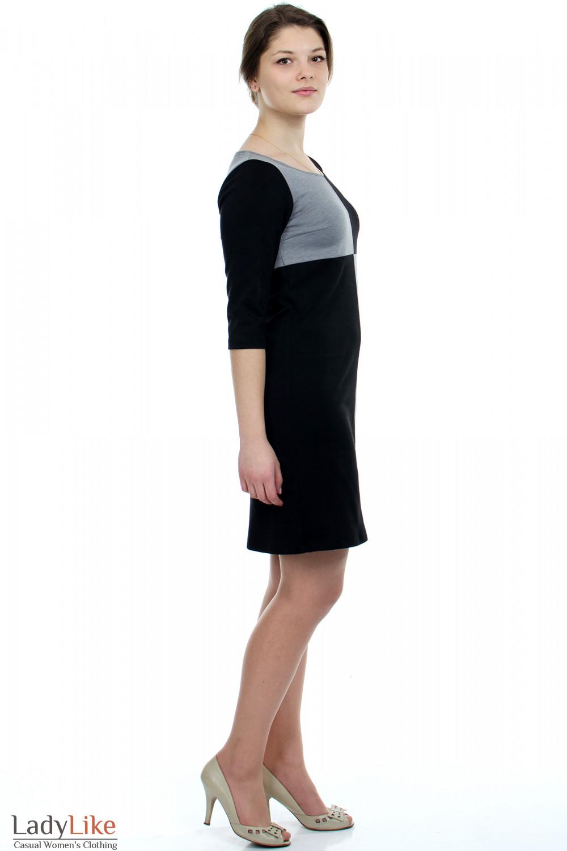 Платье черное Шахматка вид справа Деловая женская одежда