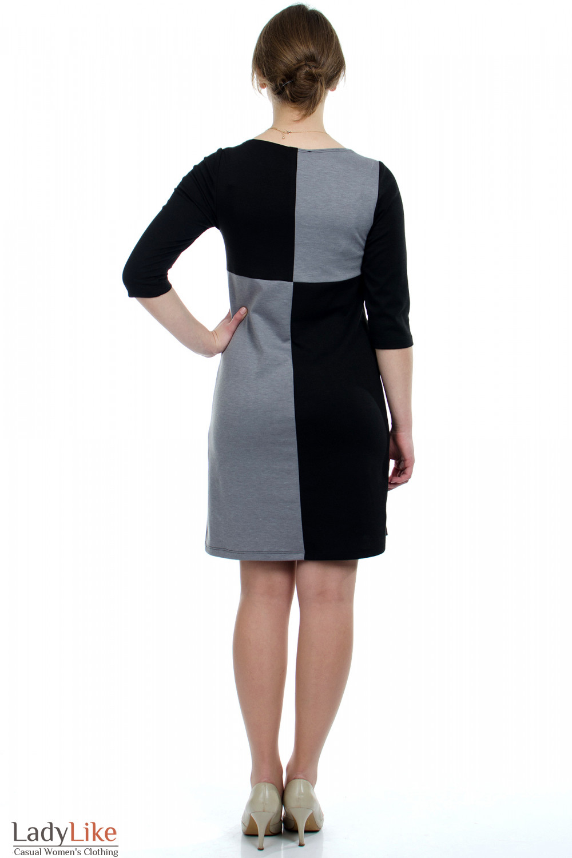 Платье черное Шахматка вид сзади Деловая женская одежда