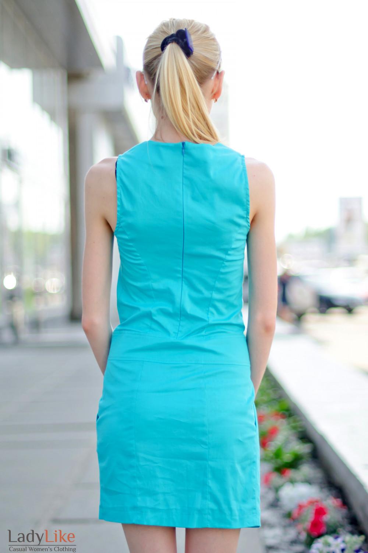 Платье голубое с карманами вид сзади Деловая женская одежда