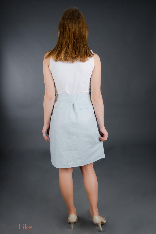 Платье голубое с поясом Деловая женская одежда