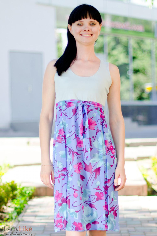 Платье летнее сиреневое Деловая женская одежда