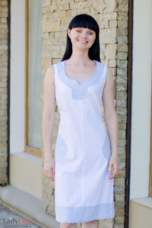 Платье льняное белое вид спереди Деловая женская одежда
