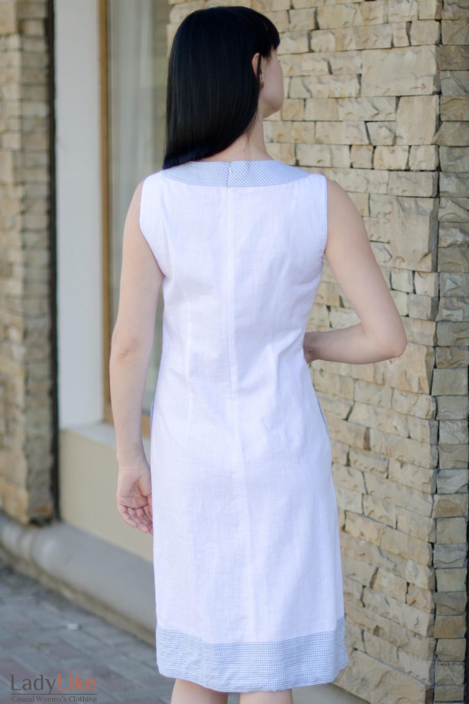 Платье льняное белое вид сзади Деловая женская одежда