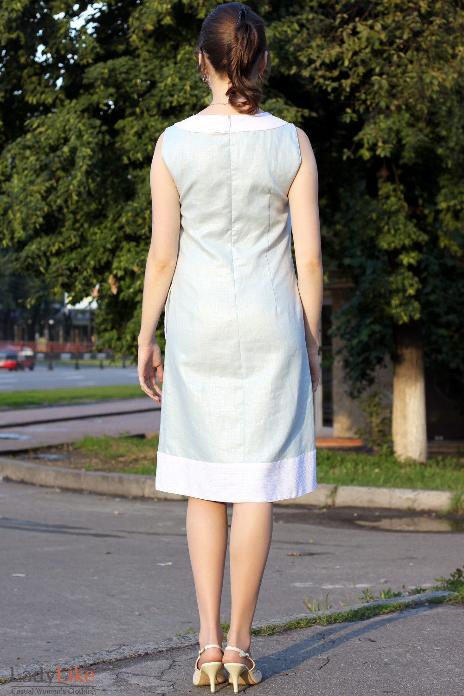 Платье льняное голубое вид сзади